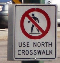 South Crosswalk closed